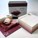 В Японии создан блокнот, который, лишаясь страниц, превращается в бумажную скульптуру